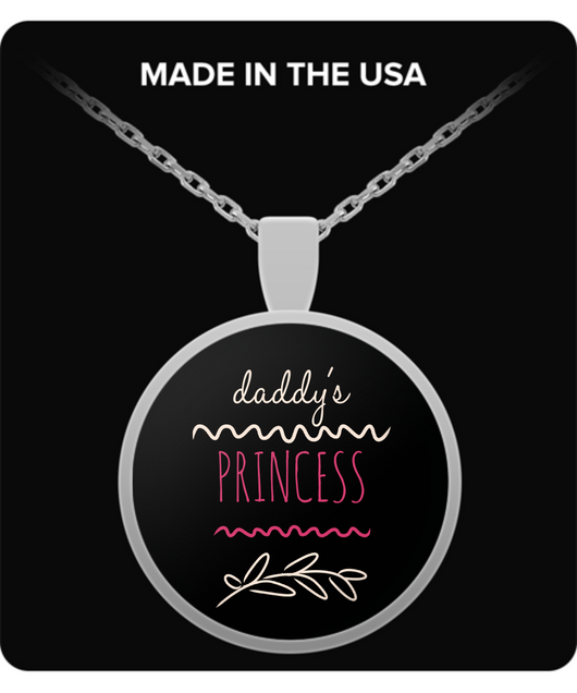 Father Daughter Necklace - Daddy's Princess - Round Shaped Design Pendant - Uncle Seal