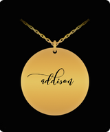Addison Pendant - Name Necklace - Personalized Charm Gift - Gold plated Plated/Stainless Steel  - Laser Engraved - Lovely Present - Uncle Seal