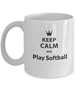 Softball - Keep Calm and play White Coffee Mug - Uncle Seal