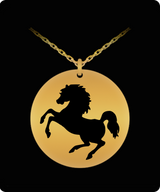 Laser Engraved Horse Necklace - Gold plated Plated Round Pendant - Cute Charm - Uncle Seal