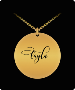 Layla Pendant - Name Necklace - Personalized Charm Gift - Gold plated Plated/Stainless Steel - Laser Engraved - Lovely Present - Uncle Seal