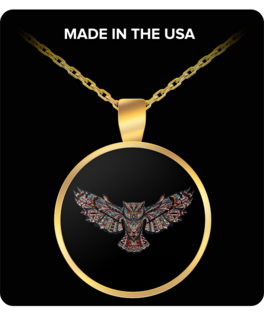 Owl Gold Chain Pendant - Black & Gold Necklace Design - Uncle Seal