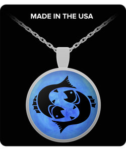 Pisces Necklace - Zodiac Signs Pendant - Blue Background - Uncle Seal