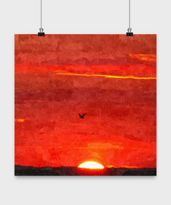 Beach Sunset Painting - Oil Paint Print style Design Poster - Uncle Seal