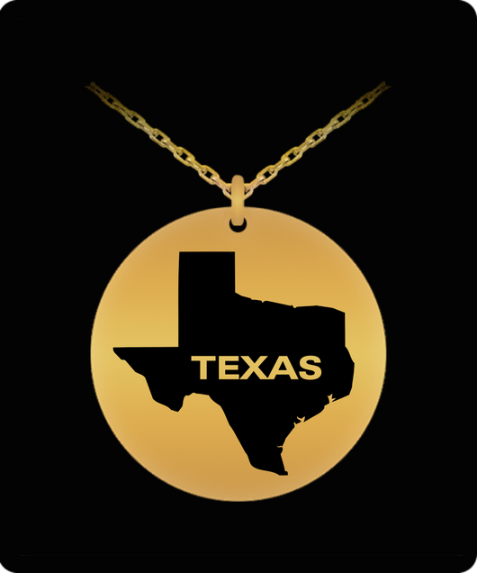 Texas Necklace - Map - Gold plated Plated/Stainless Steel