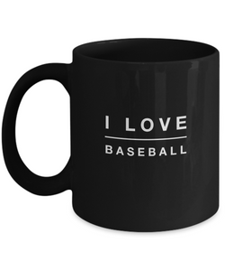 I love BaseBall - Black Coffee Mug - Uncle Seal