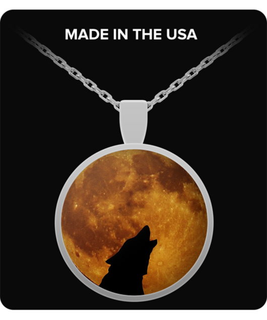 Wolf and Full Moon Necklace - Round Pendant - Uncle Seal