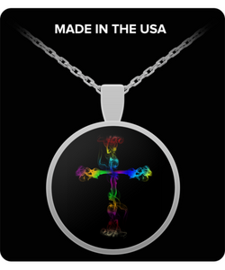 Cross Necklace - Silver Chain Pendant - For Men or Woman - Colorful Design - Uncle Seal