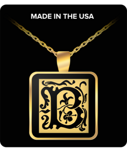 Initial Necklace - Monogram - Letter B - Gold Chain Square Pendant - For Men And Woman