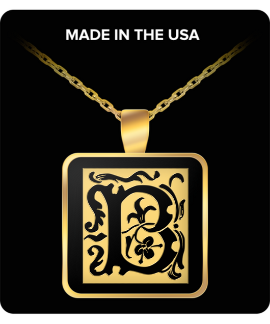 Initial Necklace - Monogram - Letter B - Gold Chain Square Pendant - For Men And Woman - Uncle Seal