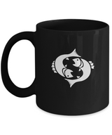 Zodiac Signs Coffee Mug - Pisces The Fish Black - Uncle Seal