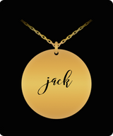 Jack Pendant - Name Necklace - Personalized Charm Gift - Gold plated Plated/Stainless Steel - Laser Engraved - Lovely Present - Uncle Seal