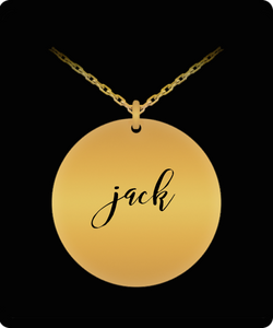 Jack Pendant - Name Necklace - Personalized Charm Gift - Gold plated Plated/Stainless Steel - Laser Engraved - Lovely Present