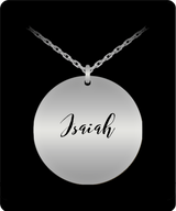 Isaiah Pendant - Name Necklace - Personalized Charm Gift - Gold plated Plated/Stainless Steel - Lovely Present - Uncle Seal
