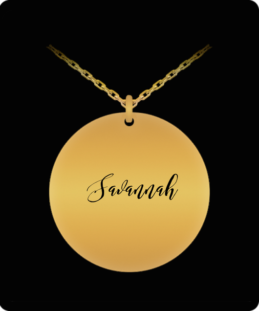 Savannah Pendant - Name Necklace - Personalized Charm Gift - Gold plated Plated/Stainless Steel - Laser Engraved - Lovely Present - Uncle Seal