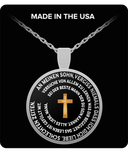 Necklace for Son In German - Inspirational Cross Pendant From Mom - Uncle Seal