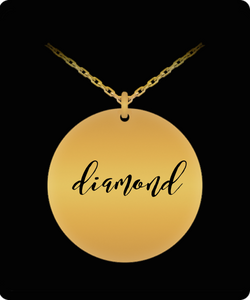 Diamond Pendant - Name Necklace - Personalized Charm Gift - Gold plated Plated/Stainless Steel - Laser Engraved - Lovely Present - Uncle Seal