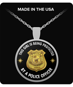 Police Necklace - Round Pendant - Gift For Wife, Girlfriend or Daughter - Uncle Seal