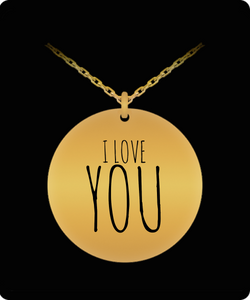 Necklace Charm I Love You - Laser Engraved Gold plated Plated/Silver Stainless Steel Chain Pendant - Cute Gift Charm - Romantic - Personal - Uncle Seal