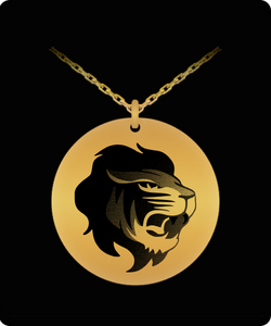 Lion Face Necklace - Gold plated Palted/Stainless Steel Laser Engraved Pendant - Great Gift Charm For Men and Woman - Uncle Seal
