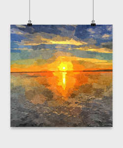 Sunset Beach poster Oil Print style Design Poster - Uncle Seal