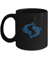 Zodiac Signs Coffee Mug - Pisces The Fish Black Blue - Uncle Seal