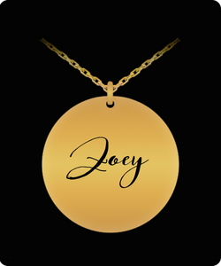 Zoey Pendant - Name Necklace - Personalized Charm Gift - Gold plated Plated/Stainless Steel - Laser Engraved - Lovely Present