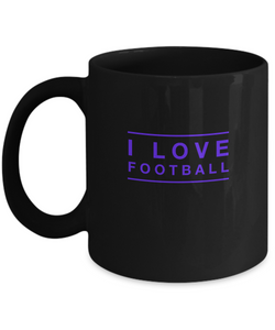 I love Football - Black purple Coffee Mug - Uncle Seal