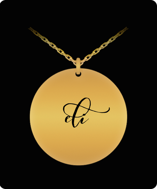 Eli Pendant - Name Necklace - Personalized Charm Gift - Gold plated Plated/Stainless Steel - Laser Engraved - Lovely Present - Uncle Seal