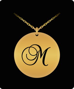 M Initial Necklace - Laser Engraved Gold plated Plated Chain Pendant - Name Charm
