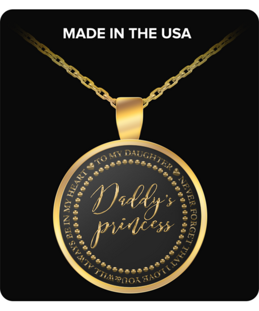 Father Daughter Necklace Gift - Daddy's Princess - Gold Round Pendant - Uncle Seal