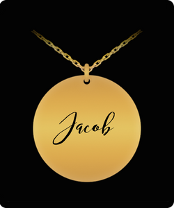 Jacob Pendant - Name Necklace - Personalized Charm Gift - Gold plated Plated/Stainless Steel - Laser Engraved - Lovely Present