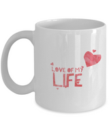 Love of my life Coffee Mug - White Red Design - Uncle Seal