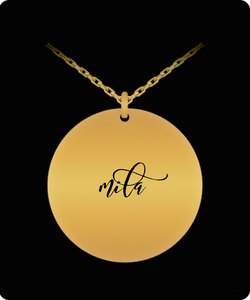 Mila Pendant - Name Necklace - Personalized Charm Gift - Gold plated Plated/Stainless Steel - Laser Engraved - Lovely Present