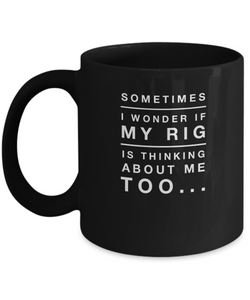 Funny Coffee Mug - Black Design 11 oz - Skydiving Jokes - Thinking About my Rig - Uncle Seal