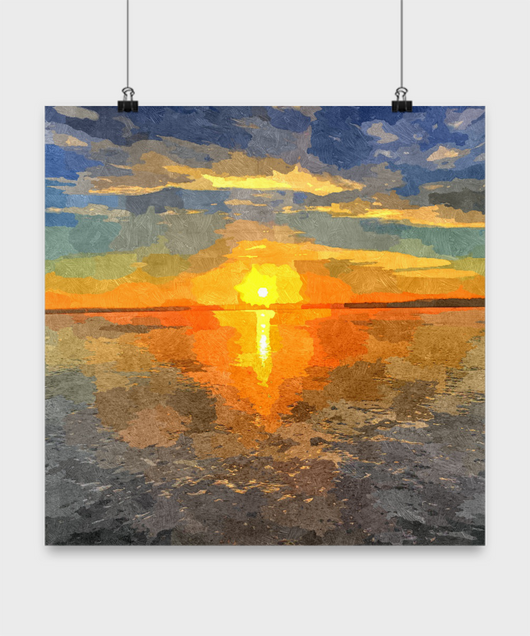 Ocean Sunset Painting - Oil Paint Print style Design Poster - Uncle Seal
