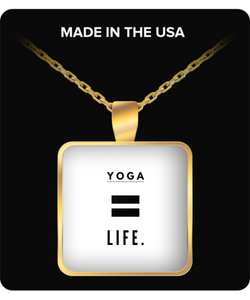 Life is Yoga - Square gold Necklace - Uncle Seal