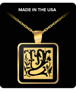 Initial Necklace - Monogram - Letter Y - Gold Chain Square Pendant - For Men And Woman