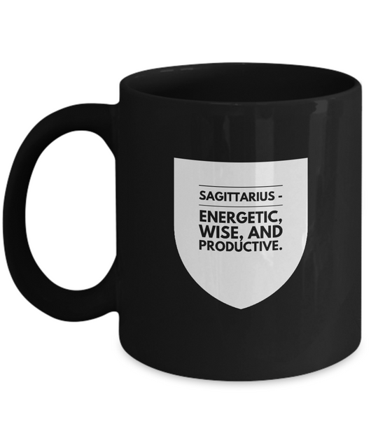 Zodiac Signs Coffee Black Mug Sagittarius badge - Uncle Seal