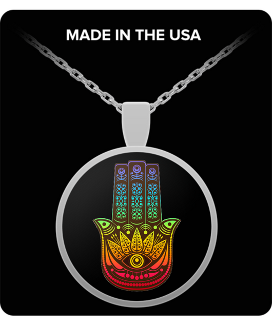 Evil Eye Necklace - Colorful Pendant - Hamsa - Gold & Silver - Uncle Seal