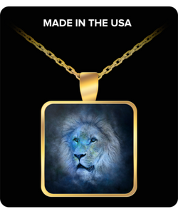 Leo Zodiac Sign Charm Necklace - Round/Square Chain Pendant - Stars Background - The Lion - Uncle Seal