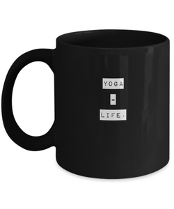Black Coffee Mug - Life is Yoga - Uncle Seal