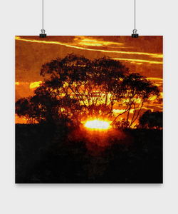 Sunset poster - Oil Paint Style design - 16x16 - Uncle Seal