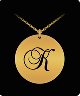 K Initial Necklace - Laser Engraved Gold plated Plated Chain Pendant - Name Charm - Uncle Seal
