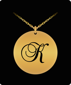 K Initial Necklace - Laser Engraved Gold plated Plated Chain Pendant - Name Charm