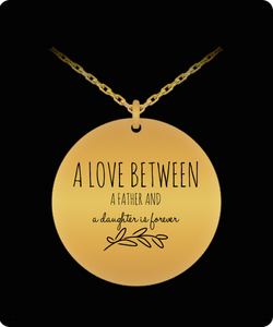 Dad Daughter Necklace - Love Jewelry Pendant - Gold plated Plated/Stainless Steel Silver Chain Charm - Great Gift From Father - Uncle Seal