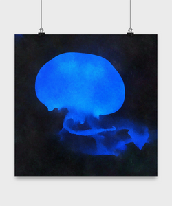 Posters art abstract - Blue Jelly Fish - Oil Paint Style design - Sea animal posters - Uncle Seal
