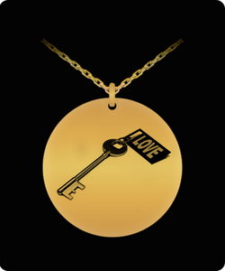 Key To My Heart Necklace - Love - Gold plated Palted/Stainless Steel Laser Engraved Pendant - Great Gift Charm For Men and Woman
