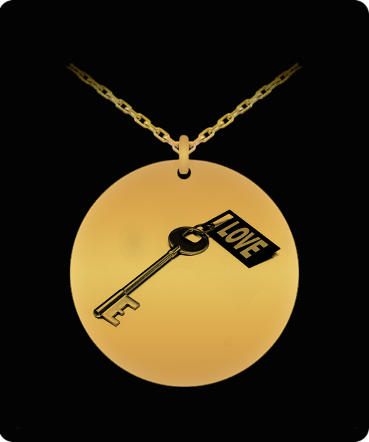 Key To My Heart Necklace - Love - Gold plated Palted/Stainless Steel Laser Engraved Pendant - Great Gift Charm For Men and Woman - Uncle Seal