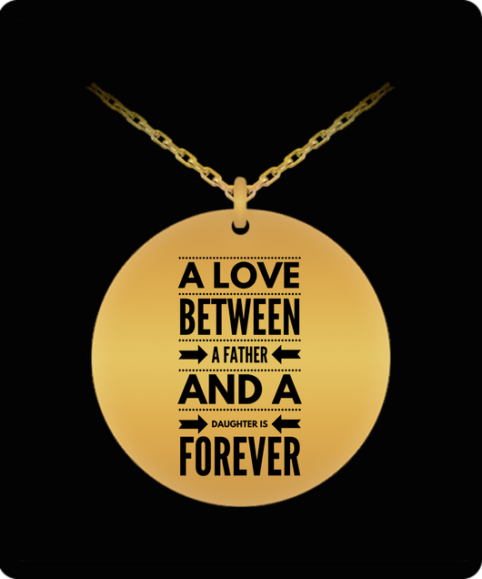 Daughter Necklace From Dad - Gold plated Palted/Stainless Steel Silver Laser Engraved Pendant - Great Gift Charm - Uncle Seal